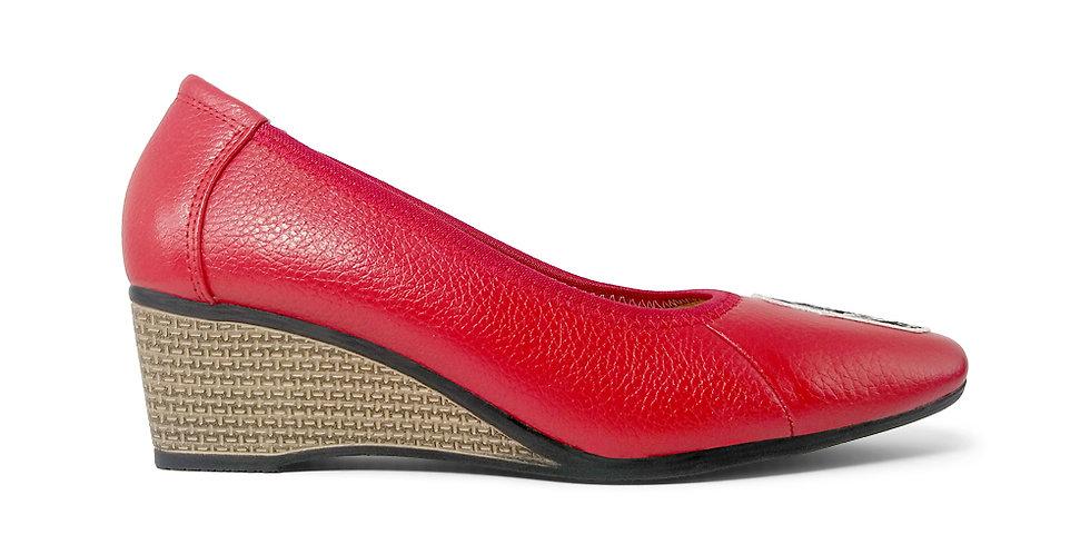 Giày Búp Bê Đế Xuồng Da Thật Thêu Hoa Hồng AD màu đỏ