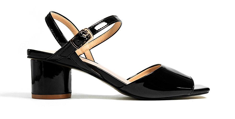 Giày sandal gót vuông mũi vuông Sulily màuđen