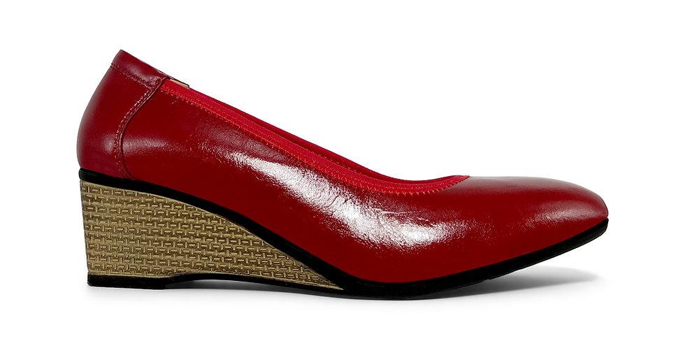 Giày Búp Bê Đế Xuồng Da Thật AD by Sullily màu đỏ