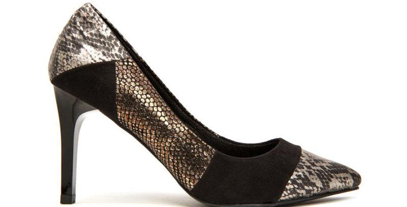 Giày Cao Gót Da Rắn Phối Màu Sulily