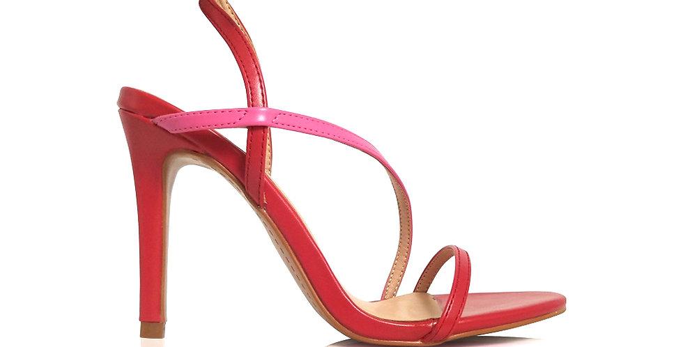 Giày Sandal Gót Nhọn Quai Mỏng Chéo 10 phân Sulily màu đỏ phối hồng