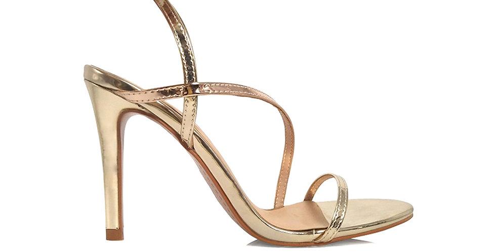 Giày Sandal Gót Nhọn Quai Mỏng Chéo 10 phân Sulily màu vàng phối bạc