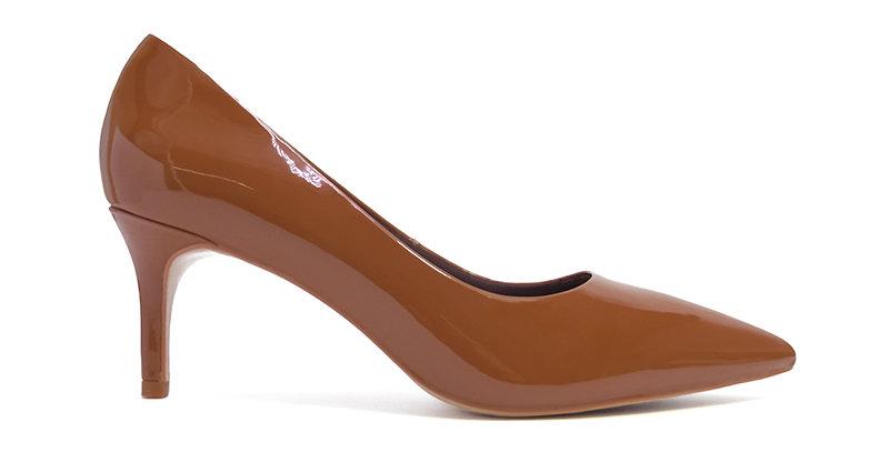 Giày Gót Nhọn Da Bóng Sulily màu nâu