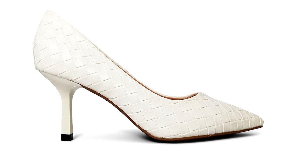 Giày Cao Gót Công Sở 6cm Đệm Mút Sulily màu trắng