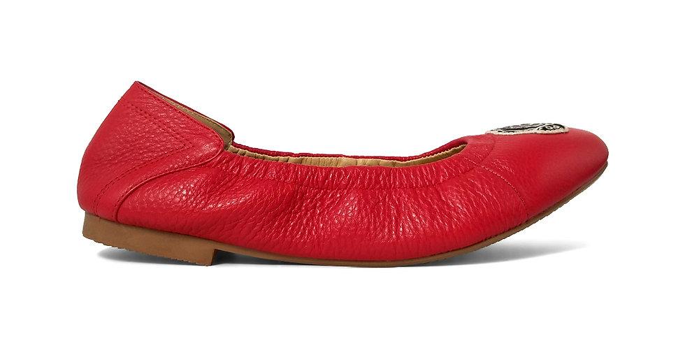 Giày Búp Bê Da Thật Mũi Vuông Thêu Hoa Hồng AD màu đỏ