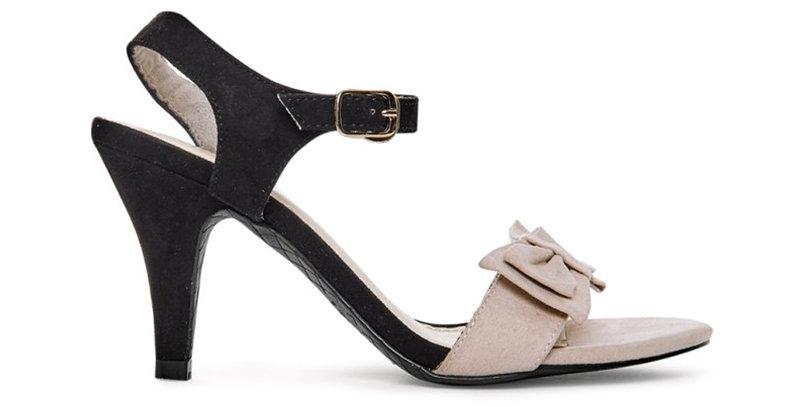 Sandal Gót Nhọn Dây Mảnh Nơ da lộn 7cm Sulily