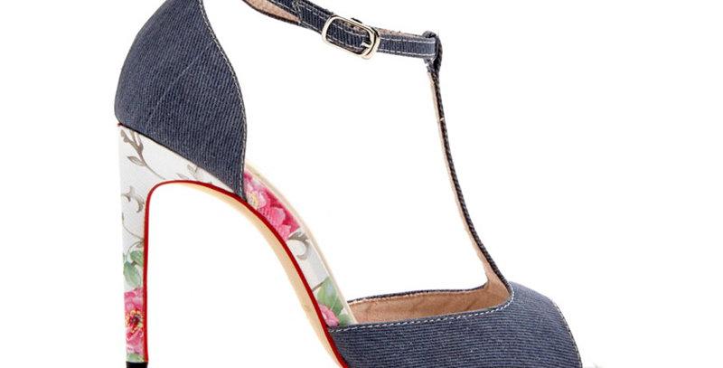 Giày Cao Gót T-Strap Vải Jean Sulily