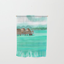 Painterly over the water bungalows in French Polynesia