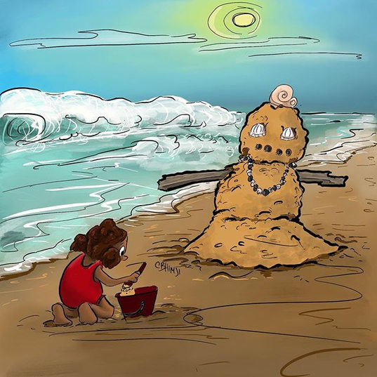How do you build your snowman? snow, sand, mud, straw, rocks...