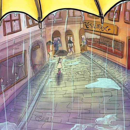 Walking through the streets of Galma Stan in the rain.