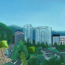 Digital drawing of Woodland  made through a hotel window.