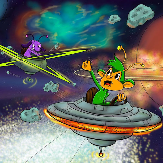 Cartoon Illustration of a alien dog and monkey chasing each other through space.