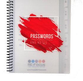 Mini Password Keeper Book - Black, Red, Purple