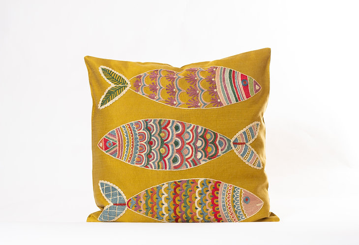 Mustard Suzani Cushion Cover