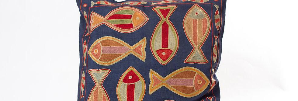 Navy Suzani Cushion Cover