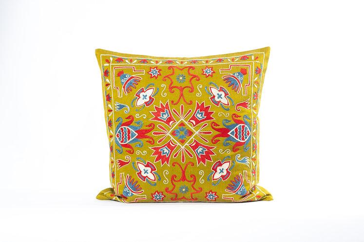 Mustard Suzani Cushion Cover