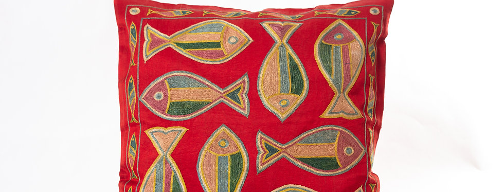 Red Suzani Cushion Cover