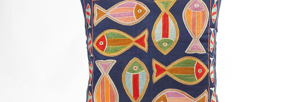 Navy Blue Suzani Cushion Cover