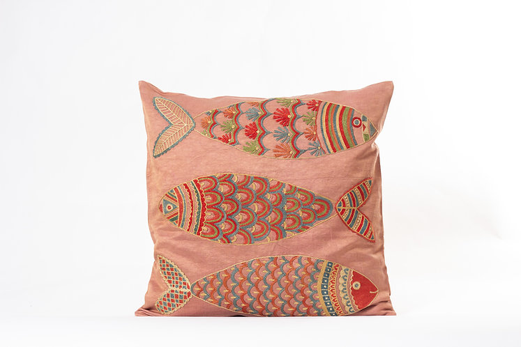Pink Suzani Cushion Cover