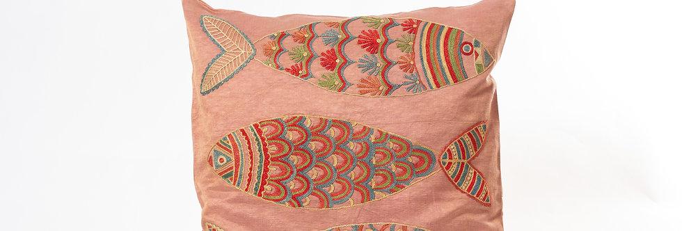 Pink Suzani Cushion Cover