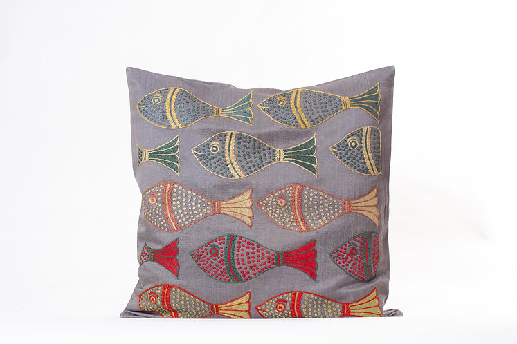 Gray Suzani Cushion Cover