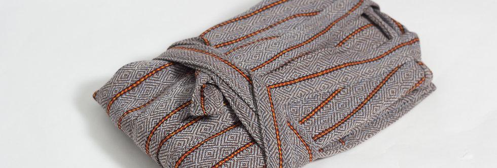 Zeyrek No1 Stripe Peshtemal Robe - Brown Bohemian Medium Weight Bathrobe