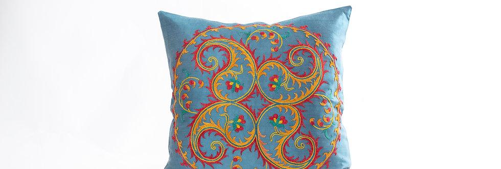 Blue Suzani Cushion Cover