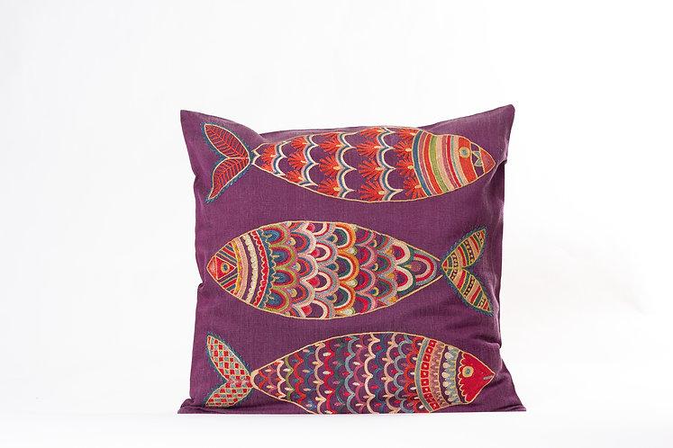 Purple Suzani Cushion Cover