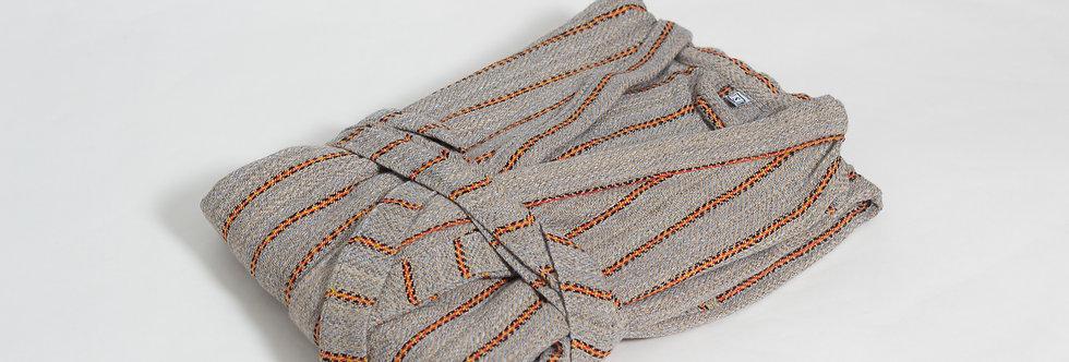 Zeyrek No2 Stripe Peshtemal Robe - Brown Bohemian Medium Weight Bathrobe