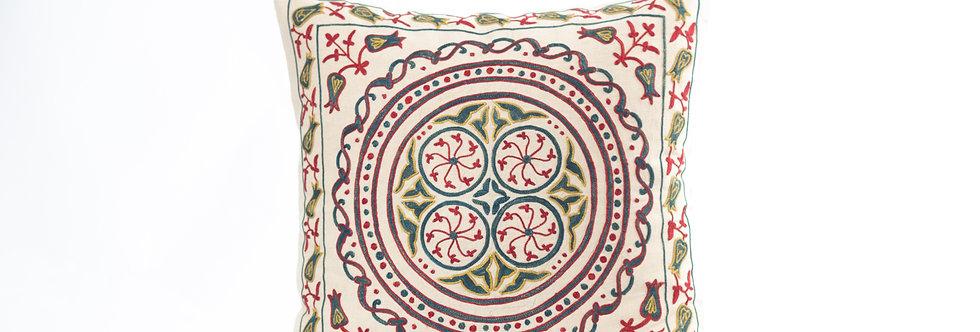 Ivory Suzani Cushion Cover