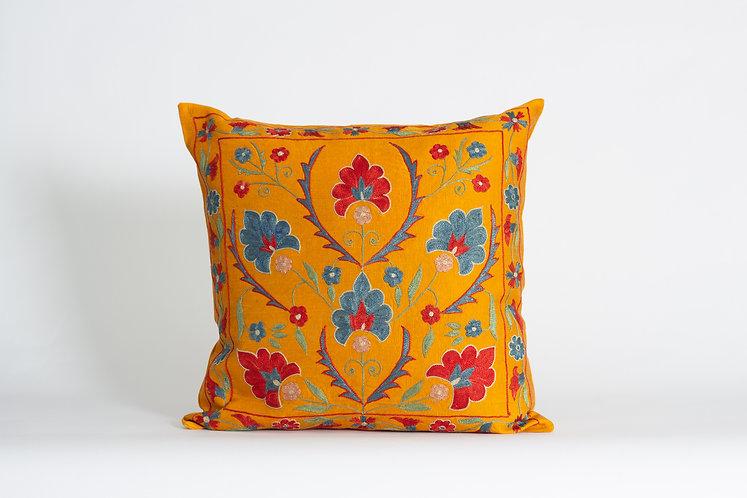 Orange Floral Suzani Cushion Cover - Silk Needlework Pillow Cases