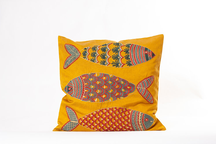 Orange Suzani Cushion Cover