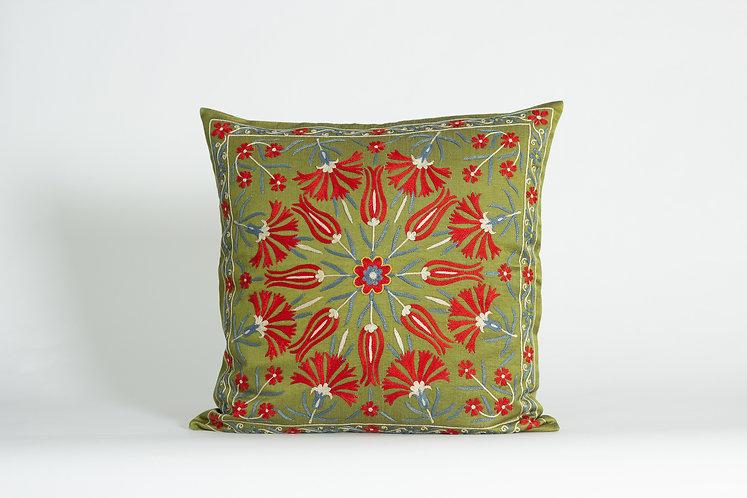 Green Suzani Cushion Cover