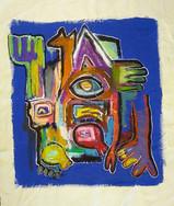 """Standing Still"", mix media on canvas, 38 x 47 cm, 2020"
