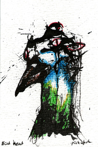 Bird Head Ink and paint on paper 2021