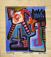 """Visiting"", mix media on canvas, 35 x 38,5 cm, 2020"
