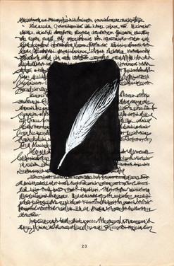 """Quill"", mix media on book page, 19,5 x 12,5 cm, 2020"