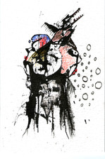 Skull, Ink and paint on paper 2021