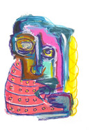 """""""Blonde with pink blanket"""", mix media on paper, 35 x 50 cm, 2020"""