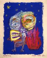 """Overthinking"", mix media on canvas, 38,5 x 45 cm, 2020"