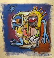 """Swimming at Night"",mix media on canvas, 47 x 50 cm, 2020"