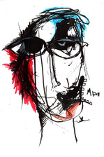 Man Ink and paint on paper 2021