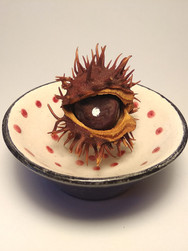 """3rd Eye"", horse chestnut and paint inside ceramic altar, object, 2018"