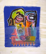 """Under Water"", mix media on canvas, 37 x 42 cm, 2020"