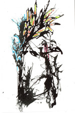 Sad but Plumes Ink and paint on paper 2021