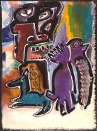"""Blue Dog"", mix media on canvas, 23 x 30 cm, 2020"