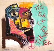 """Listening the Clock"", mix media on canvas, 2020"