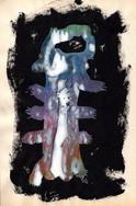"""Gemstone"", mix media on book page, 19,5 x 12,5 cm, 2020"
