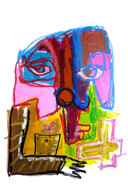 """""""Talking with Dead"""",mix media on paper, 35x50 cm, 2020"""
