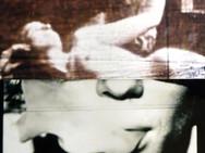"""Smoke"" Gentle Blues Analogue manuplasyon,  35 mm film, Photo print  Exhibited: July 2015, D.ART 2015 / ARTENOVA, Mechelen, Belgium  April 2015, S & H De Buck Gallery Gent, Belgium"
